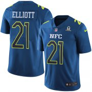 Wholesale Cheap Nike Cowboys #21 Ezekiel Elliott Navy Youth Stitched NFL Limited NFC 2017 Pro Bowl Jersey