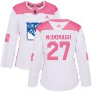 Wholesale Cheap Adidas Rangers #27 Ryan McDonagh White/Pink Authentic Fashion Women's Stitched NHL Jersey