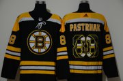 Wholesale Cheap Men's Boston Bruins #88 David Pastrnak Black With Team Logo Adidas Stitched NHL Jersey