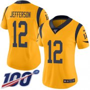 Wholesale Cheap Nike Rams #12 Van Jefferson Gold Women's Stitched NFL Limited Rush 100th Season Jersey