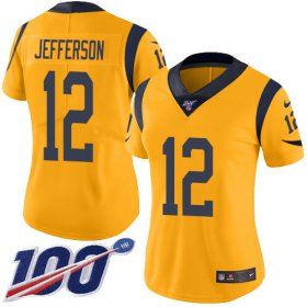 Wholesale Cheap Nike Rams #12 Van Jefferson Gold Women\'s Stitched NFL Limited Rush 100th Season Jersey