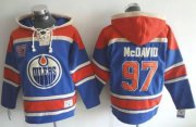 Wholesale Cheap Oilers #97 Connor McDavid Light Blue Sawyer Hooded Sweatshirt Stitched NHL Jersey