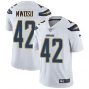 Wholesale Cheap Nike Chargers #42 Uchenna Nwosu White Men's Stitched NFL Vapor Untouchable Limited Jersey