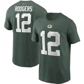 Wholesale Cheap Green Bay Packers #12 Aaron Rodgers Nike Team Player Name & Number T-Shirt Green