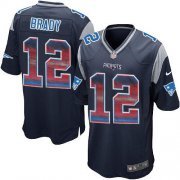 Wholesale Cheap Nike Patriots #12 Tom Brady Navy Blue Team Color Men's Stitched NFL Limited Strobe Jersey