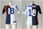 Wholesale Cheap Nike Broncos #18 Peyton Manning Blue/White Women's Stitched NFL Elite Split Colts Jersey
