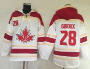 Wholesale Cheap Team CA. #28 Claude Giroux White Sawyer Hooded Sweatshirt 2016 World Cup Stitched NHL Jersey
