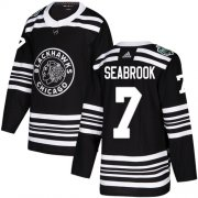 Wholesale Cheap Adidas Blackhawks #7 Brent Seabrook Black Authentic 2019 Winter Classic Stitched Youth NHL Jersey