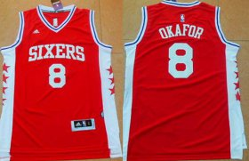 Wholesale Cheap Men\'s Philadelphia 76ers #8 Jahlil Okafor Revolution 30 Swingman 2015 Draft New Red Jersey