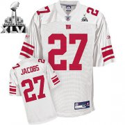Wholesale Cheap Giants Brandon Jacobs #27 White Super Bowl XLVI Embroidered NFL Jersey