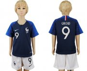 Wholesale Cheap France #9 Giroud Home Kid Soccer Country Jersey