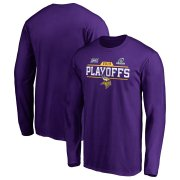 Wholesale Cheap Minnesota Vikings 2019 NFL Playoffs Bound Chip Shot Long Sleeve T-Shirt Purple