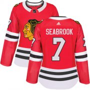 Wholesale Cheap Adidas Blackhawks #7 Brent Seabrook Red Home Authentic Women's Stitched NHL Jersey