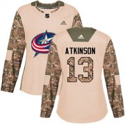 Wholesale Cheap Adidas Blue Jackets #13 Cam Atkinson Camo Authentic 2017 Veterans Day Women's Stitched NHL Jersey