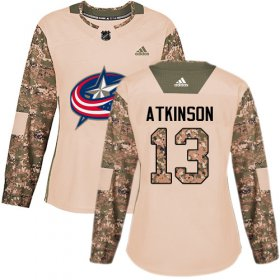 Wholesale Cheap Adidas Blue Jackets #13 Cam Atkinson Camo Authentic 2017 Veterans Day Women\'s Stitched NHL Jersey