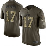 Wholesale Cheap Nike Eagles #17 Alshon Jeffery Green Youth Stitched NFL Limited 2015 Salute to Service Jersey