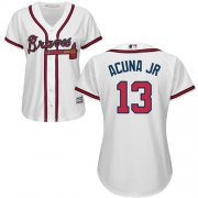 Wholesale Cheap Braves #13 Ronald Acuna Jr. White Home Women's Stitched MLB Jersey