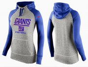 Wholesale Cheap Women's Nike New York Giants Performance Hoodie Grey & Blue_1