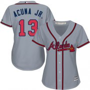 Wholesale Cheap Braves #13 Ronald Acuna Jr. Grey Road Women's Stitched MLB Jersey