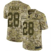 Wholesale Cheap Nike Colts #28 Marshall Faulk Camo Men's Stitched NFL Limited 2018 Salute To Service Jersey