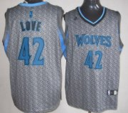 Wholesale Cheap Minnesota Timberwolves #42 Kevin Love Gray Static Fashion Jersey
