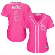 Wholesale Cheap Cardinals #6 Stan Musial Pink Fashion Women's Stitched MLB Jersey