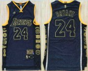 Wholesale Cheap Men's Los Angeles Lakers #24 Kobe Bryant Black Retired Commemorative Soul Swingman Jersey