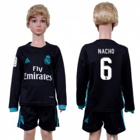 Wholesale Cheap Real Madrid #6 Nacho Away Long Sleeves Kid Soccer Club Jersey
