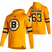 Wholesale Cheap Boston Bruins #63 Brad Marchand Adidas Reverse Retro Pullover Hoodie Gold