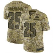 Wholesale Cheap Nike Seahawks #25 Richard Sherman Camo Youth Stitched NFL Limited 2018 Salute to Service Jersey