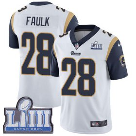 Wholesale Cheap Nike Rams #28 Marshall Faulk White Super Bowl LIII Bound Men\'s Stitched NFL Vapor Untouchable Limited Jersey