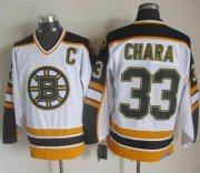 Wholesale Cheap Bruins #33 Zdeno Chara White/Black CCM Throwback Stitched NHL Jersey