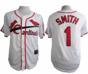 Wholesale Cheap Cardinals #1 Ozzie Smith White Cooperstown Throwback Stitched MLB Jersey