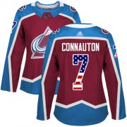 Wholesale Cheap Adidas Avalanche #7 Kevin Connauton Burgundy Home Authentic USA Flag Women's Stitched NHL Jersey
