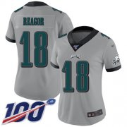 Wholesale Cheap Nike Eagles #18 Jalen Reagor Silver Women's Stitched NFL Limited Inverted Legend 100th Season Jersey