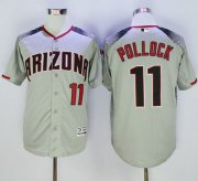 Wholesale Cheap Diamondbacks #11 A. J. Pollock Gray/Brick New Cool Base Stitched MLB Jersey