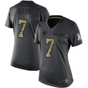Wholesale Cheap Nike Panthers #7 Kyle Allen Black Women's Stitched NFL Limited 2016 Salute to Service Jersey