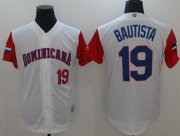 Wholesale Cheap Team Dominican Republic #19 Jose Bautista White 2017 World MLB Classic Authentic Stitched MLB Jersey