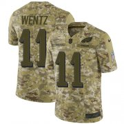 Wholesale Cheap Nike Eagles #11 Carson Wentz Camo Youth Stitched NFL Limited 2018 Salute to Service Jersey