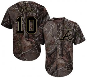 Wholesale Cheap Braves #10 Chipper Jones Camo Realtree Collection Cool Base Stitched Youth MLB Jersey
