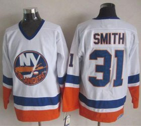 Wholesale Cheap Islanders #31 Billy Smith White CCM Throwback Stitched NHL Jersey