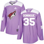 Wholesale Cheap Adidas Coyotes #35 Louis Domingue Purple Authentic Fights Cancer Stitched Youth NHL Jersey