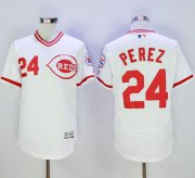 Wholesale Reds #24 Tony Perez White Flexbase Authentic Collection Cooperstown Stitched Baseball Jersey