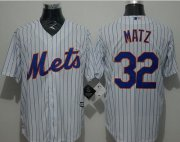 Wholesale Cheap Mets #32 Steven Matz White(Blue Strip) New Cool Base Stitched MLB Jersey