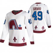 Wholesale Cheap Colorado Avalanche #49 Samuel Girard White Men's Adidas 2020-21 Reverse Retro Alternate NHL Jersey
