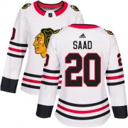 Wholesale Cheap Adidas Blackhawks #20 Brandon Saad White Road Authentic Women's Stitched NHL Jersey