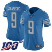 Wholesale Cheap Nike Lions #9 Matthew Stafford Blue Team Color Women's Stitched NFL 100th Season Vapor Limited Jersey
