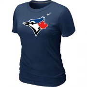 Wholesale Cheap Women's Nike Toronto Blue Jays Authentic Logo T-Shirt Dark Blue