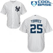Wholesale Cheap Yankees #25 Gleyber Torres White Strip New Cool Base Stitched MLB Jersey