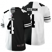 Cheap New England Patriots #4 Jarrett Stidham Men's Black V White Peace Split Nike Vapor Untouchable Limited NFL Jersey